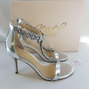 BADGLEY MISCHKA Jewel Janna Silver Sandals Sz 7 M